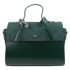 Stylová dámská kabelka S754 smaragdově zelená GROSSO
