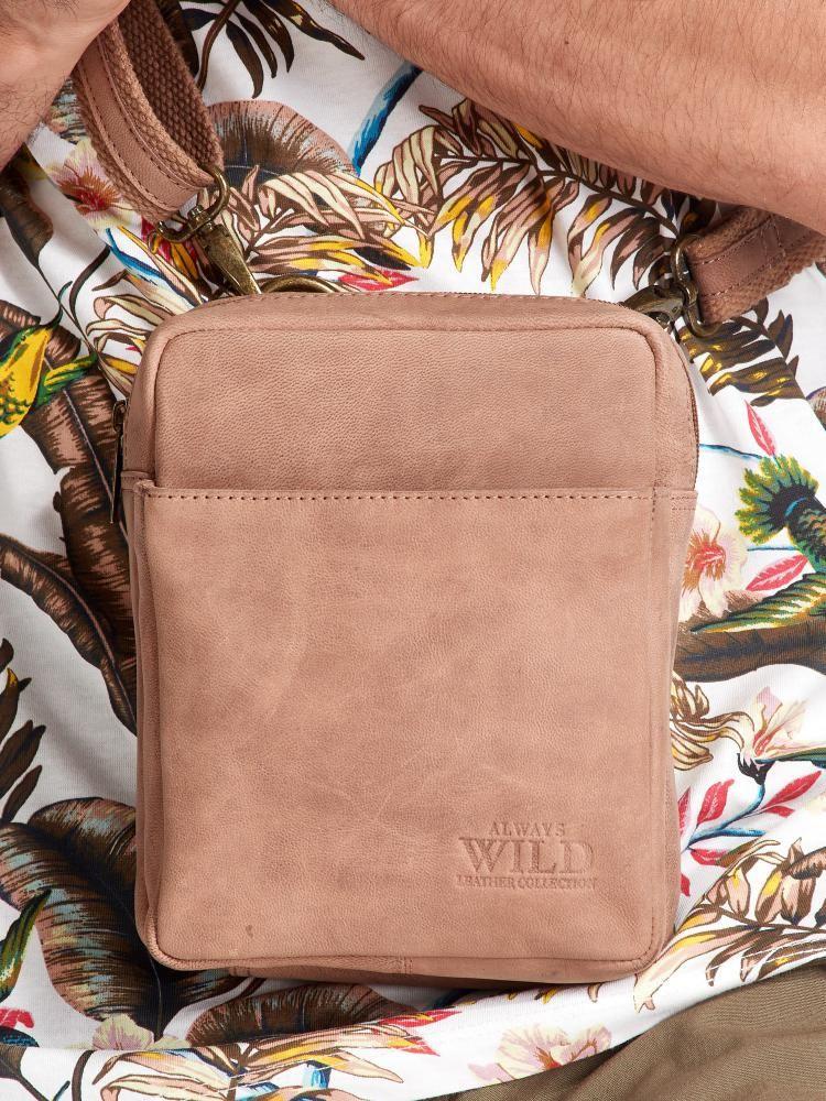 WILD Kožená pánská crossbody taška hnědá 16x20x7 cm