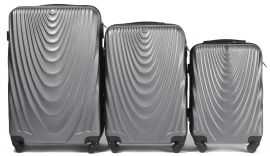 Cestovní kufry sada WINGS 304 ABS SILVER L,M,S