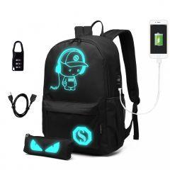 Music svítící černý studentský batoh s pouzdrem, zámek, USB port KONO E-batoh