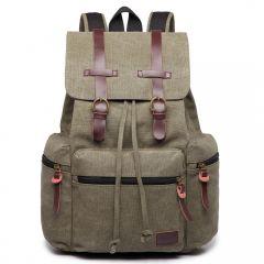 KONO velký khaki zelený multifunkční batoh s koženými doplňky UNISEX