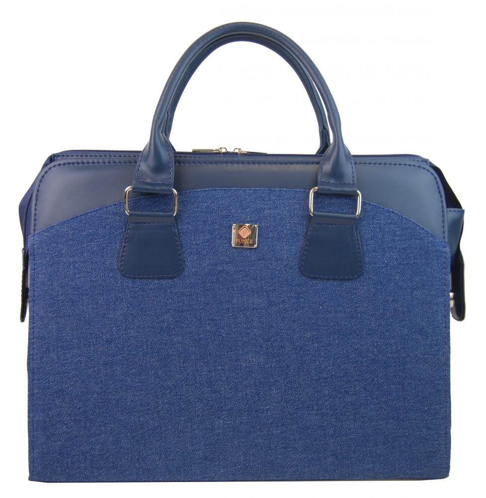 dámská aktovka PUNCE LC-01 riflová modrá dámská kabelka pro notebook do 15.6 palce