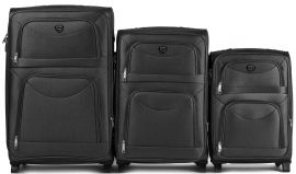 Sada 3 textilních kufrů WINGS 6802 BLACK L/M/S