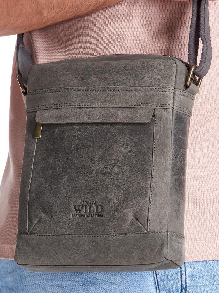 Wild WILD Kožená pánská crossbody taška tmavě šedá 20x25x6 cm