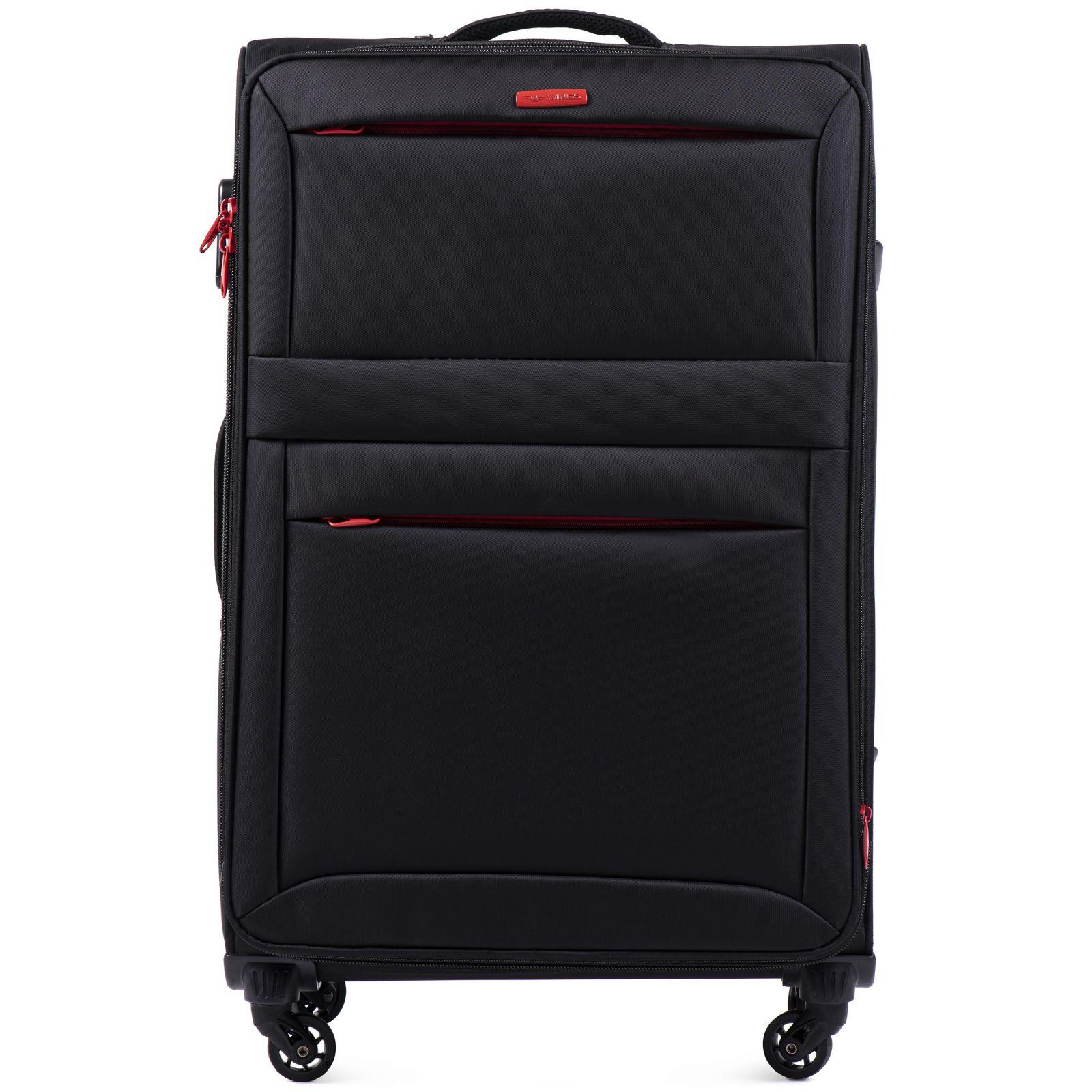 Cestovní látkový kufr WINGS 2861 BLACK velký L