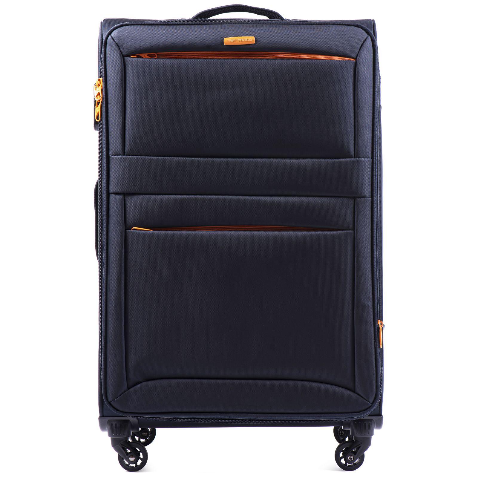 Cestovní látkový kufr WINGS 2861 BLUE velký L