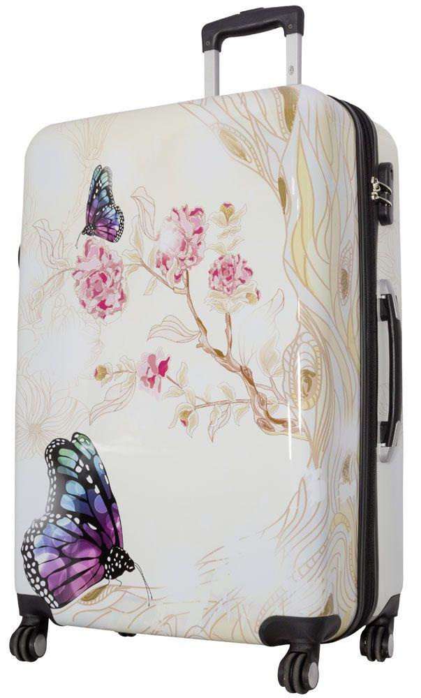 Cestovní kufr Motýl na kytce velký L