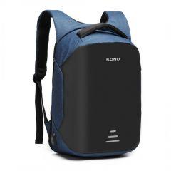 KONO černo-modrý reflexní elegantní batoh s USB portem UNISEX E-batoh