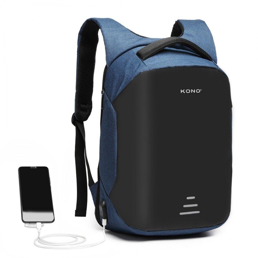 KONO černo-modrý reflexní elegantní batoh s USB portem UNISEX