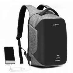 KONO černo-šedý reflexní elegantní batoh s USB portem UNISEX