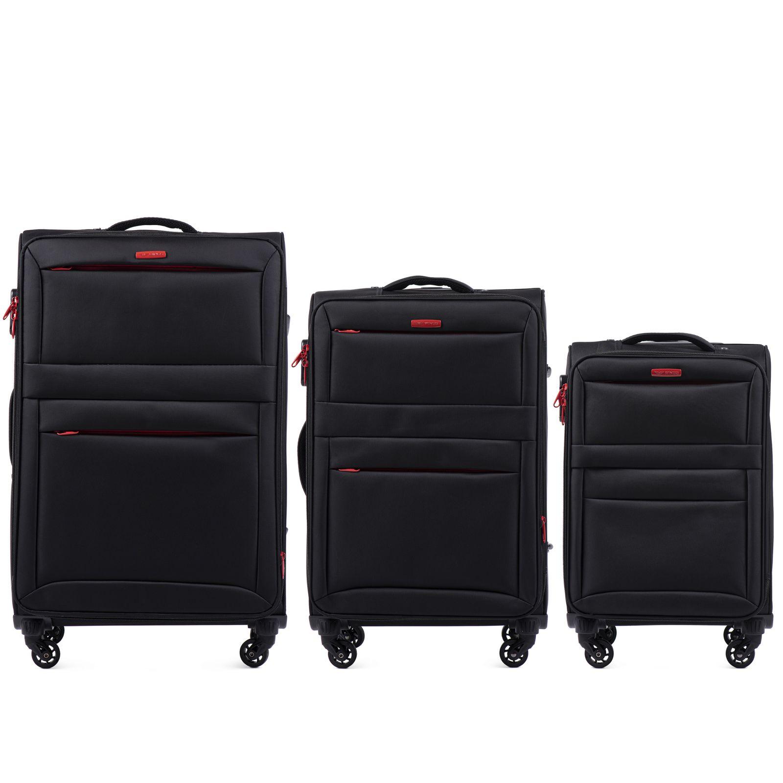 Sada 3 textilních kufrů WINGS 2861 BLACK L/M/S