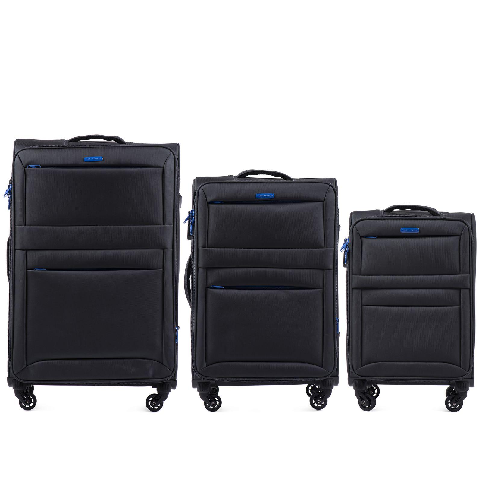 Sada 3 textilních kufrů WINGS 2861 DARK GREY L/M/S