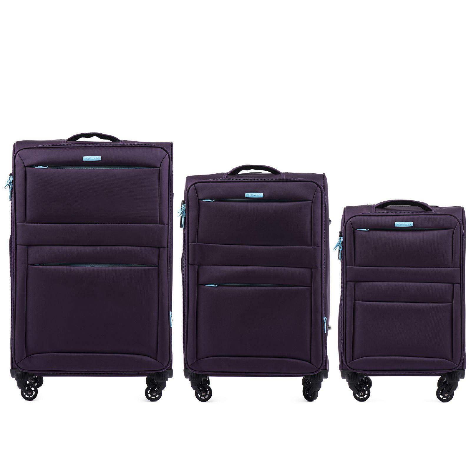 Sada 3 textilních kufrů WINGS 2861 PURPLE L/M/S