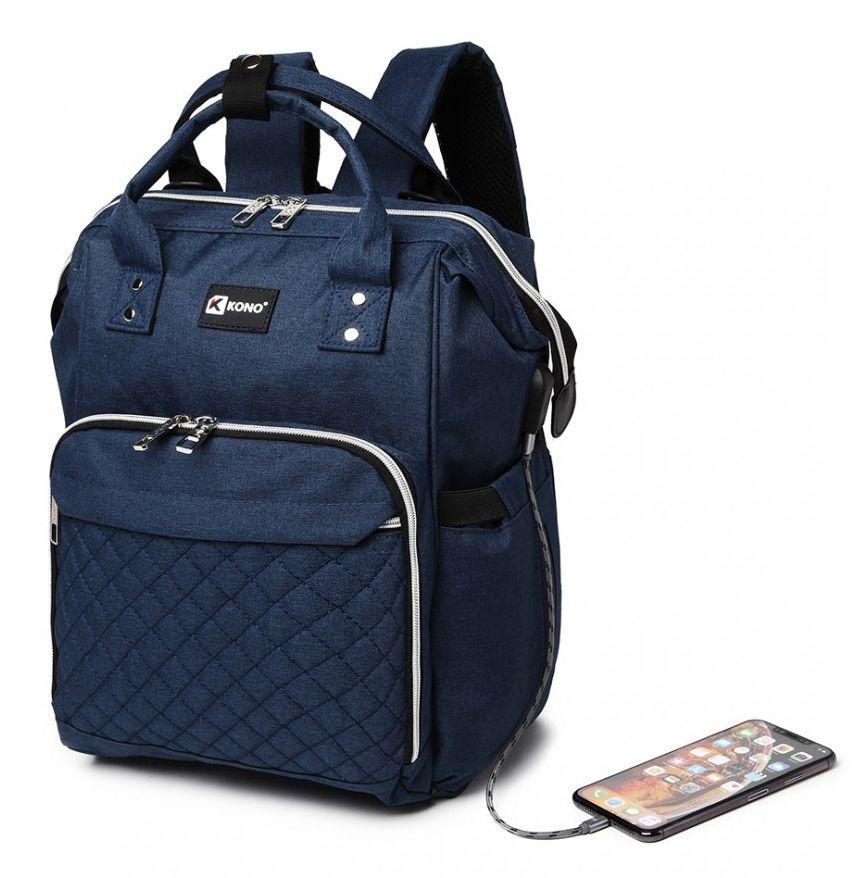 KONO Modrý batoh pro maminky s USB portem vhodný i na kočárek