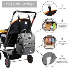 KONO Šedý batoh pro maminky s USB portem vhodný i na kočárek E-batoh