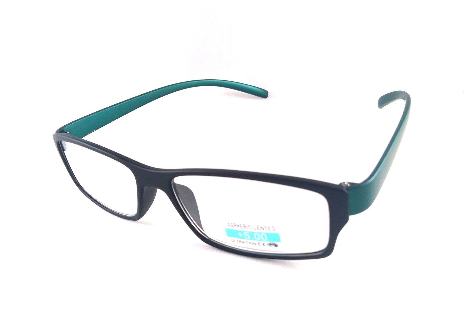 Dioptrické brýle P2.03/ +5,00 zelená nožička