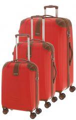 Cestovní kufry set 3ks Dielle S,M,L 155-02 červená