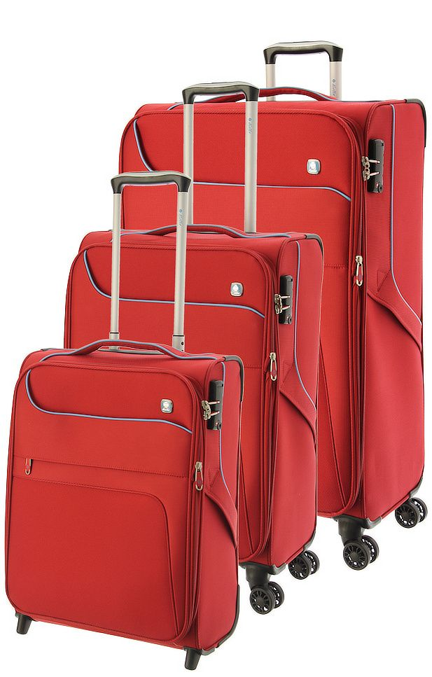 Cestovní kufry set 3ks Dielle S,M,L 610-02 červená