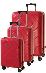 Cestovní kufry set 3ks Dielle S,M,L  PPL8-02 červená