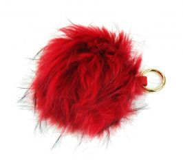 Červená kožešinová bambule z lišky - přívěsek na kabelku