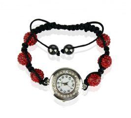 Náramek s hodinkami Shamballa LSB0018 červený