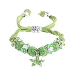 Shamballa zelený náramek s hvězdou LS Fashion LSB0037