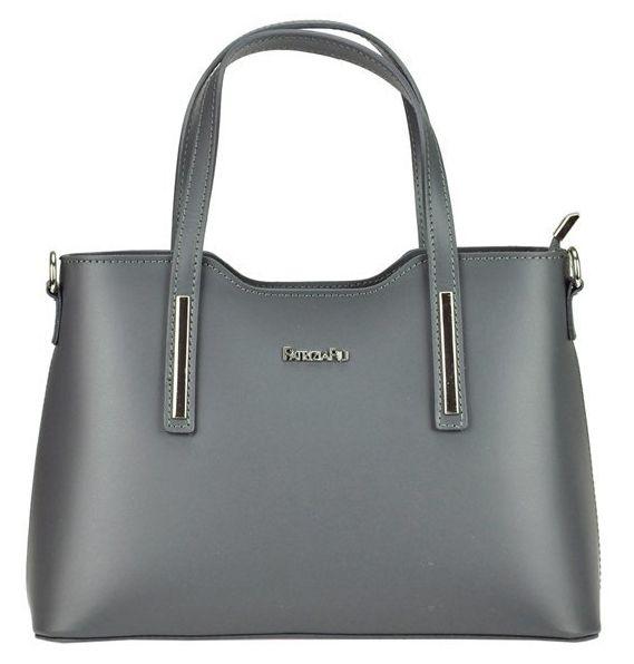 Tmavě šedá kožená dámská kabelka do ruky Patrizia Piu