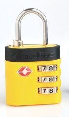 Bezpečnostní TSA kódový zámek na zavazadla TravelBlue TB037 - žlutá