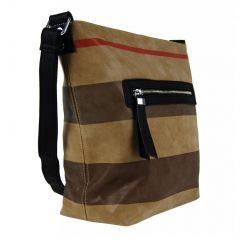 Větší dámská broušená crossbody kabelka TH2035 hnědo-černá NEW BERRY E-batoh