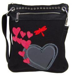 Dámská crossbody kabelka se srdíčky G003 černá Tapple E-batoh