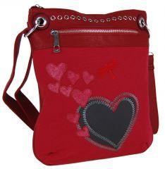 Dámská crossbody kabelka se srdíčky G003 červená Tapple E-batoh