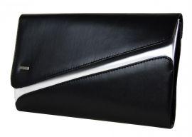 Matná černo-stříbrná společenská listová kabelka SP127 GROSSO