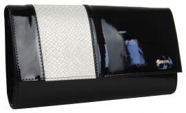 Velká černá listová kabelka s béžovým hadím páskem GROSSO SP115 E-batoh