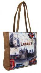 Dámská kabelka na rameno s motivem Londýna 60694 přírodní hnědá Tapple E-batoh