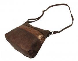 Elegantní tmavší hnědá menší crossbody kabelka se zlatými doplňky 2765-BB BELLA BELLY E-batoh