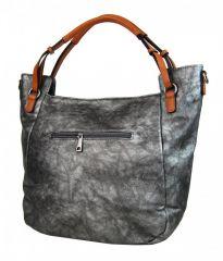 Šedá míhaná dámská kabelka na rameno s hnědými ručkami 3003-MM Maria Marni E-batoh