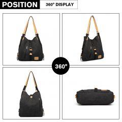 KONO pevná látková dámská kabelka přes rameno černá E-batoh