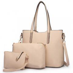 Praktický dámský kabelkový set 3v1 Miss Lulu béžová Lulu Bags (Anglie) E-batoh