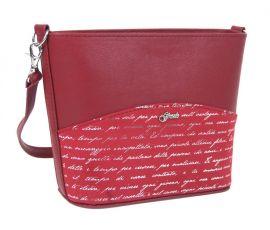 Malá červená crossbody taška se stříbrným písmem M292 GROSSO E-batoh
