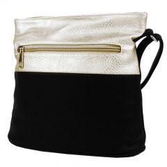 Malá crossbody kabelka se stříbrným zipem NH6020 černo-zlatá NEW BERRY E-batoh