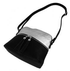 Malá crossbody kabelka se stříbrným zipem NH6021 stříbrná NEW BERRY E-batoh