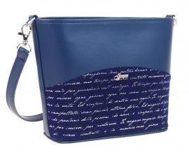 Malá modrá crossbody taška se stříbrným písmem M292 GROSSO E-batoh