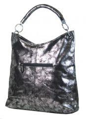 Moderní velká metalická kabelka přes rameno 665-MH stříbrná patina Mahel E-batoh