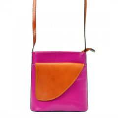 Kožená malá dámská crossbody kabelka růžová-hnědá Gregorio E-batoh