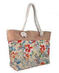 Letní lehká plážová taška růžová s kvítky SP-A CAVALDI E-batoh