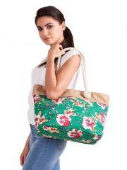 Letní lehká plážová taška zelená s kvítky SP-A CAVALDI E-batoh