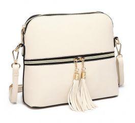 Malá béžová crossbody kabelka se zlatým zipem MISS LULU Lulu Bags (Anglie) E-batoh