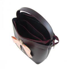 Bordová dámská kabelka do ruky s mašlí S755 GROSSO E-batoh