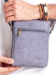 WILD Kožená pánská crossbody taška tmavě modrá 15x19x5 cm E-batoh