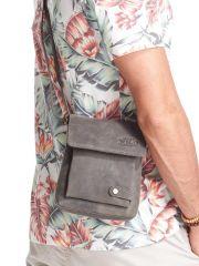 WILD Kožená pánská crossbody taška tmavě šedá 17x20x5 cm E-batoh